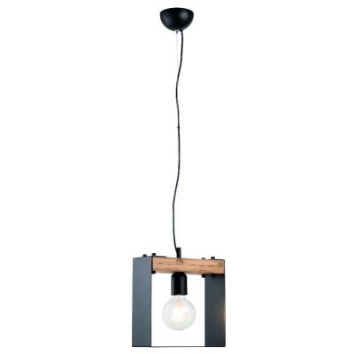 Κρεμαστό φωτιστικό 25x25cm σε μεταλλικό και ξύλινο πλαίσιο