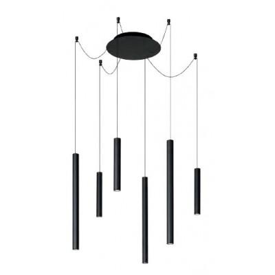 Μοντέρνο πολύφωτο με κρεμαστές μαύρες ράβδους LED Ø125cm
