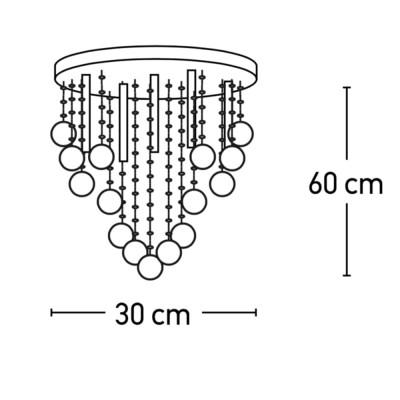 Φωτιστικό οροφής με βροχή από κρύσταλλα χαμηλής κρέμασης