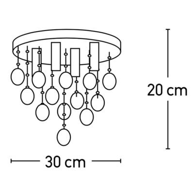 Φωτιστικό οροφής με βροχή από κρύσταλλα