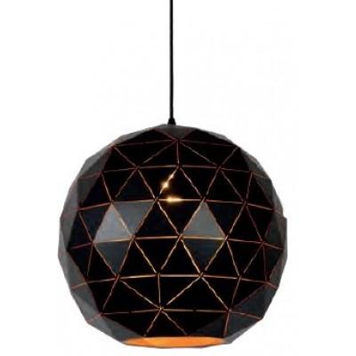 Μαύρο κρεμαστό φωτιστικό Ø40cm με τρίγωνα πάνω στην στρογγυλή καμπάνα