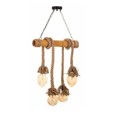 Vintage τετράφωτο από μπαμπού και σχοινί