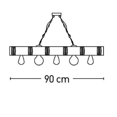 Κρεμαστό πεντάφωτο 90cm από ξύλο και σχοινί