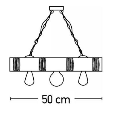 Κρεμαστό τρίφωτο 50cm από ξύλο και σχοινί