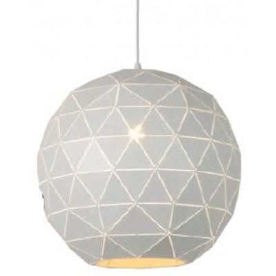 Λευκό κρεμαστό φωτιστικό Ø40cm με τρίγωνα πάνω στην στρογγυλή καμπάνα