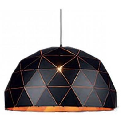 Μαύρο κρεμαστό φωτιστικό Ø60cm με τρίγωνα πάνω στην καμπάνα ημικύκλιο
