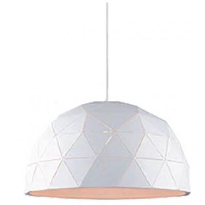 Λευκό κρεμαστό φωτιστικό Ø60cm με τρίγωνα πάνω στην καμπάνα ημικύκλιο