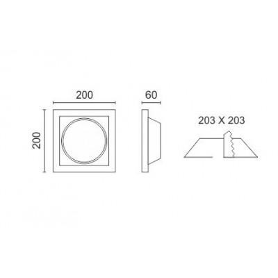 Γύψινο χωνευτό σποτ οροφής 20x20cm AR111