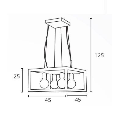 Κρεμαστό Φωτιστικό 45x45cm από μέταλλο και ξύλο