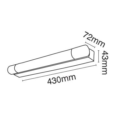 Απλίκα μπάνιου LED 43cm από αλουμίνιο και ακρυλικό