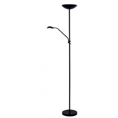 Μαύρο φωτιστικό δαπέδου 180cm LED με extra φωτεινή πηγή reading στο βραχίονα