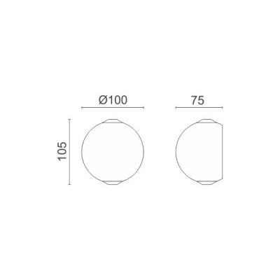 Λευκή στρογγυλή απλίκα Ø10cm Up-Down LED 60°