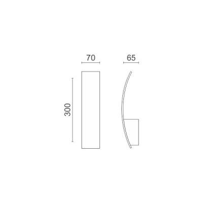 Μοντέρνα απλίκα 30cm κάθετης τοποθέτησης LED 90°