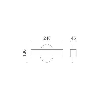 Απλίκα Up-Down LED 90° στρογγυλή με γραμμικό κάλυμμα