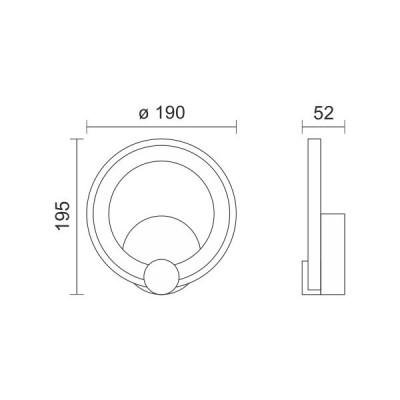 Μαύρη απλίκα δαχτυλίδι Ø19cm LED 180°