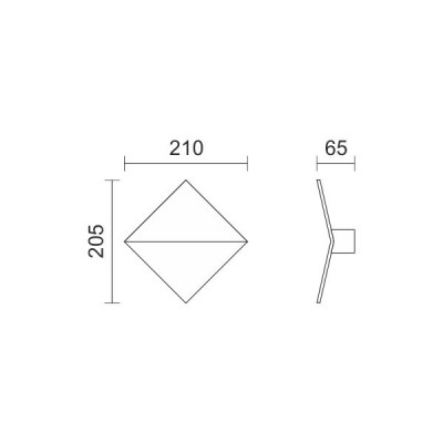 Λευκή απλίκα ρόμβος 21x21cm LED 90°