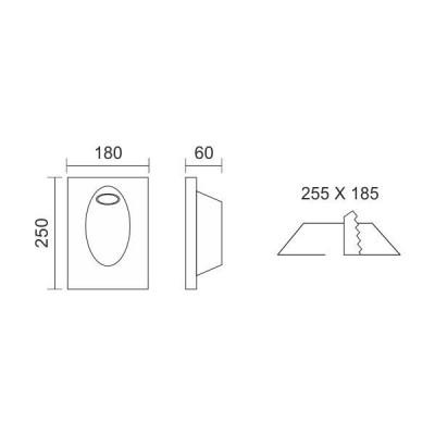 Γύψινο χωνευτό σποτ τοίχου 25x18cm GU10