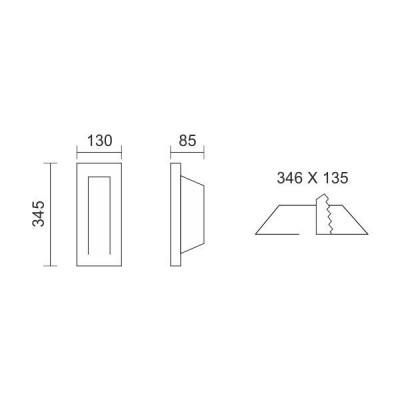 Γύψινο χωνευτό σποτ τοίχου 34x13cm GU10