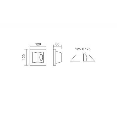 Γύψινο χωνευτό σποτ τετράγωνο 12x12cm GU10