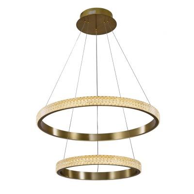 Κρεμαστό φωτιστικό από μέταλλο και διάφανο ακρυλικό με δύο δακτύλιους κυκλικής σχεδίασης Φ60cm LED