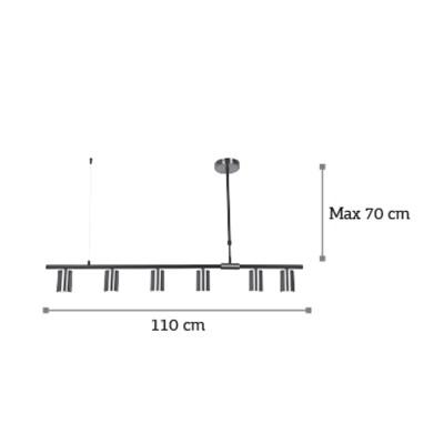 Μίνιμαλ γραμμικό εξάφωτο φωτιστικό 110cm με χρυσαφί σποτάκια από μέταλλο