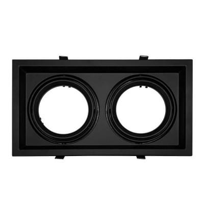 Χωνευτή τετράγωνη διπλή βάση για spot AR111 μαύρη κινητή