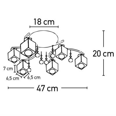 Εξάφωτο φωτιστικό οροφής Ø54cm με γυάλινα κυβάκια