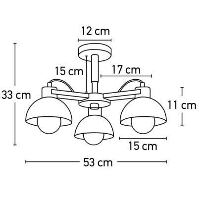 Τρίφωτο κρεμαστό φωτιστικό Ø53cm με ξύλινη λεπτομέρεια