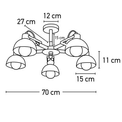 Πεντάφωτο κρεμαστό φωτιστικό Ø53cm με ξύλινους βραχίονες