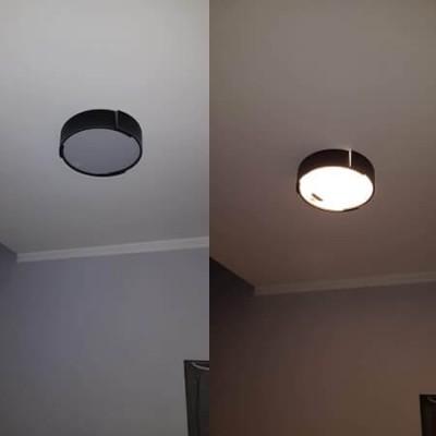 Μαύρη μοντέρνα πλαφονιέρα οροφής LED Ø40cm