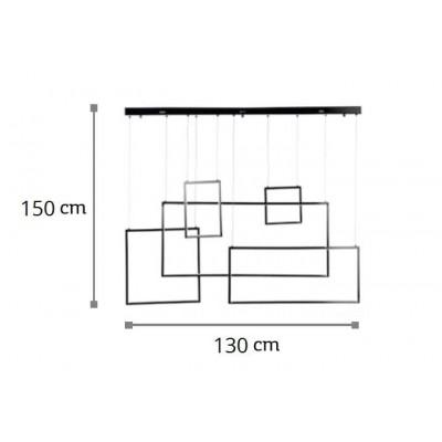 Κρεμαστό φωτιστικό LED χρώμιο 130x150cm με πλαίσια