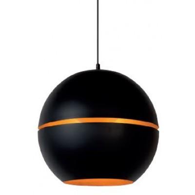 Μαύρο κρεμαστό φωτιστικό Ø35cm με σχήμα σφαίρας με κενό στη μέση και χρυσό εσωτερικό