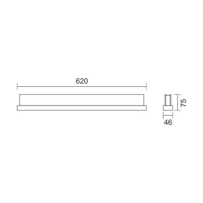 Γραμμική μεταλλική απλίκα χρώμιο 62cm LED 4000K 160°