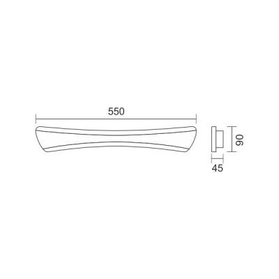 Γραμμική απλίκα με καμπύλες 55cm LED 4000K 160°