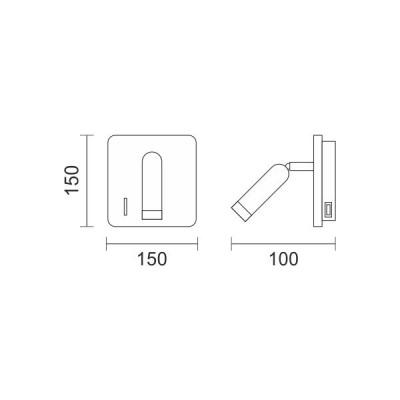 Μεταλλική απλίκα LED reading με θύρα USB σε όψη λευκού μαρμάρου