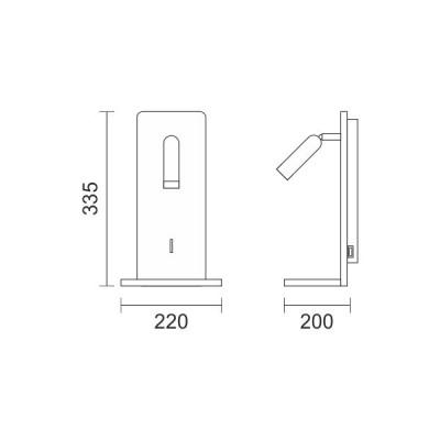 Απλίκα LED reading με θύρα USB μεταλλική σε όψη γκρι υφάσματος