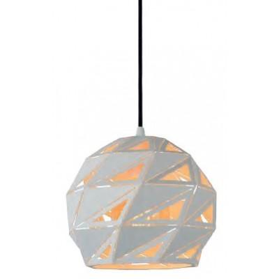 Λευκό κρεμαστό φωτιστικό Ø25cm με τρίγωνα πάνω στην ημιδιάφανη καμπάνα