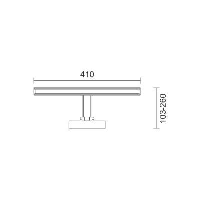 Γραμμικό φωτιστικό καθρέφτη 41cm περιστρεφόμενο LED 4000K 160°