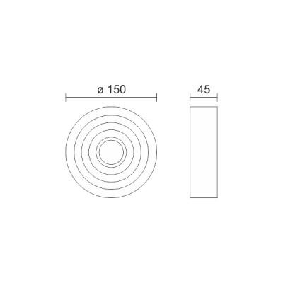 Στρογγυλή μεταλλική απλίκα με ραβδώσεις Ø15cm LED