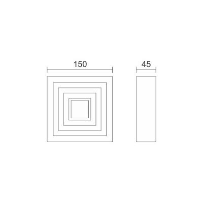 Τετράγωνη μεταλλική απλίκα με ραβδώσεις 15x15cm LED