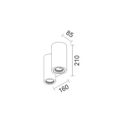 Γύψινη απλίκα με κυλίνδρους 16cm δίφωτη GU10