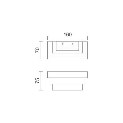 Μεταλλική απλίκα LED ορθογώνια με επίπεδα 16x7cm