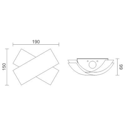 Μοντέρνα απλίκα με χιαστί σχέδιο Up-Down LED 90°