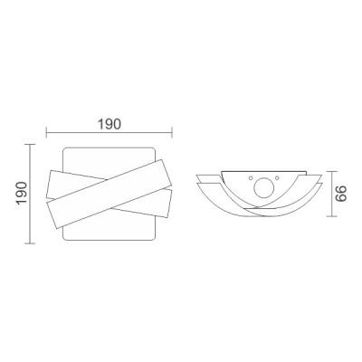 Τετράγωνη απλίκα 19x19cm με χιαστί κάλυμμα Up-Down LED 90°