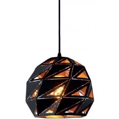 Μαύρο κρεμαστό φωτιστικό Ø25cm με τρίγωνα πάνω στην ημιδιάφανη καμπάνα