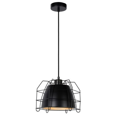 Κρεμαστό μαύρο φωτιστικό 26x26cm με μεταλλική καμπάνα και γεωμετρικό πλέγμα