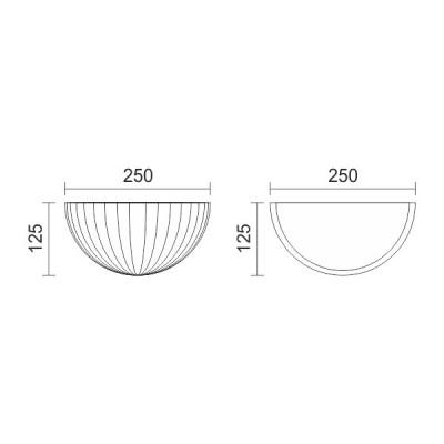 Γύψινη απλίκα ημικυκλική με ραβδώσεις 25cm G9