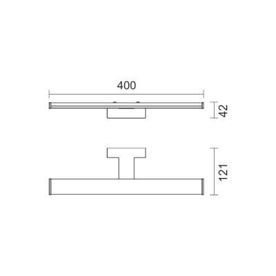 Πλαστική γραμμική απλίκα χρώμιο 40cm LED 4000K 160°