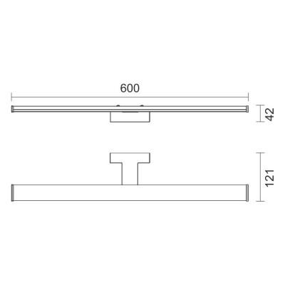 Πλαστική γραμμική απλίκα χρώμιο 60cm LED 4000K 160°