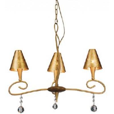 Τρίφωτο χρυσό ματ φωτιστικό Ø64cm με καπέλα από γυαλί με φύλλα σε χρυσό και κρύσταλλακια